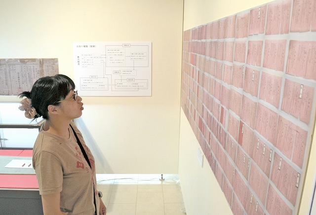 召集令状の受領証を並べたパネルなどを展示した「太平洋戦争と戦時下の暮らし」展=鯖江市まなべの館