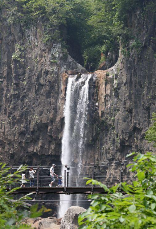 関川の水が高さ55メートルからごう音とともに流れ落ちる苗名滝=妙高市