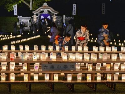 福井で「越前朝倉万灯夜」開幕 幻想的、遺跡彩る光の道