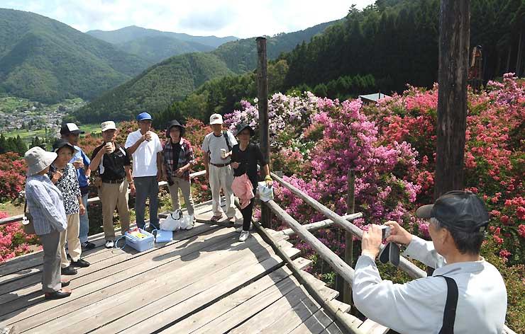 「サルスベリの丘」の見晴らし台で、盛りとなった花を楽しむ人たち=24日午前10時20分、長野市若穂保科