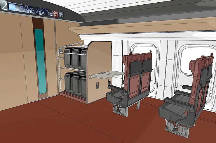 北陸新幹線(長野経由)の車両に設置する荷物置き場のイメージ