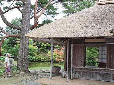 新発田・五十公野御茶屋 公開を再開 装い新た優美な趣 かやぶき、外壁を改修
