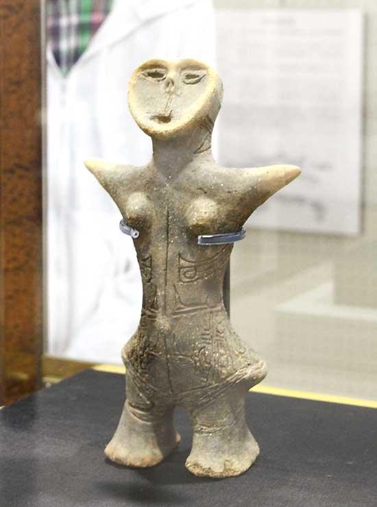 重要文化財に指定された土偶。井戸尻考古館に展示されている