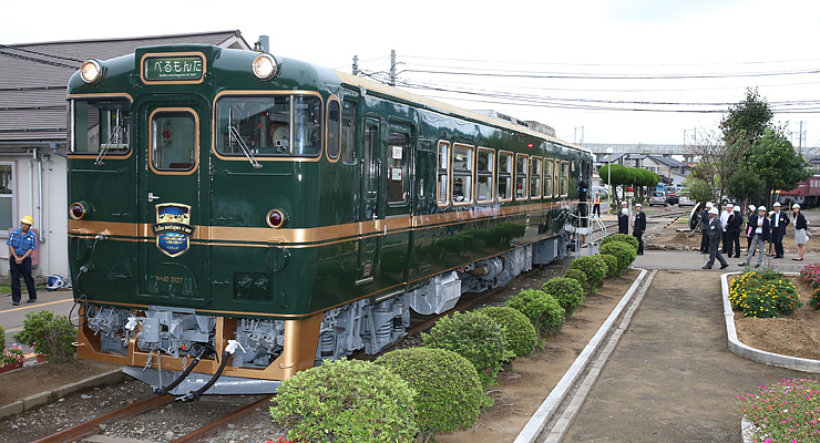 報道陣に公開された観光列車「ベル・モンターニュ・エ・メール」(愛称・べるもんた)
