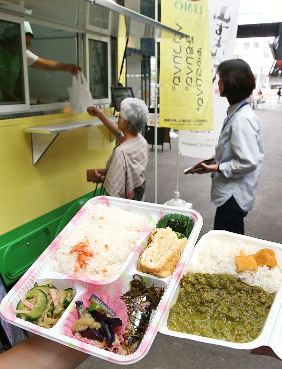 山古志住民会議が売り出した山古志産食材を使った弁当=9日、アオーレ長岡