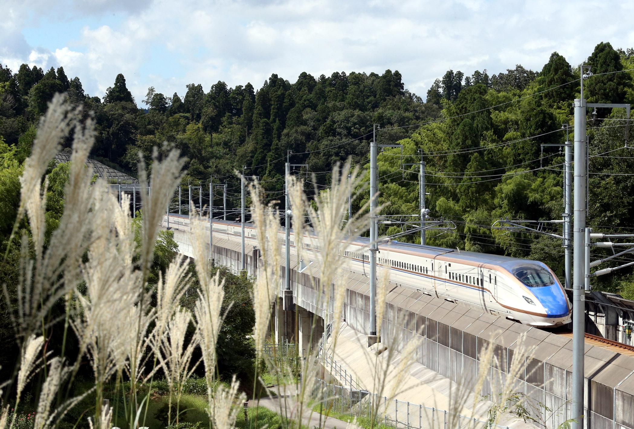 ススキが揺れる県境付近の里山を東京に向けて走行する北陸新幹線=14日午前10時17分、津幡町倉見