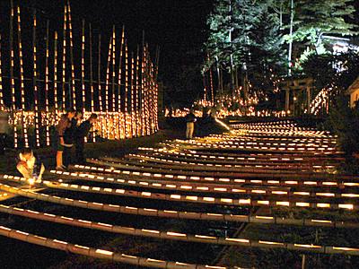 1万の灯、集落照らす 志賀町長田