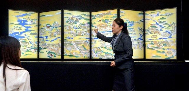 一乗谷繁栄の様子を映像で表現した特別展=19日、福井市の県立一乗谷朝倉氏遺跡資料館