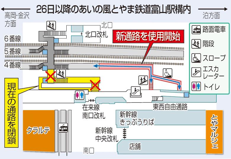 26日以降の通路変更(あいの風とやま鉄道富山駅)