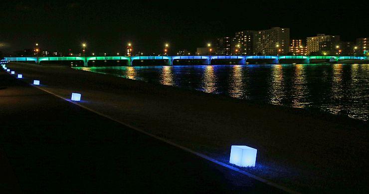 幻想的な世界を演出した夜間ライトアップ=21日、新潟市中央区