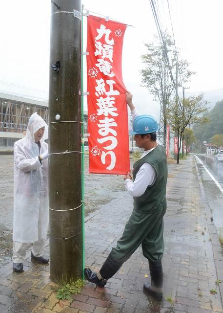 国道沿いに取り付けられた九頭竜紅葉まつりをPRするのぼり旗=25日、福井県大野市朝日