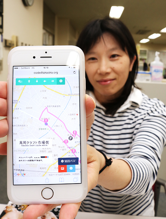 開発したアプリの画面を紹介する矢後代表