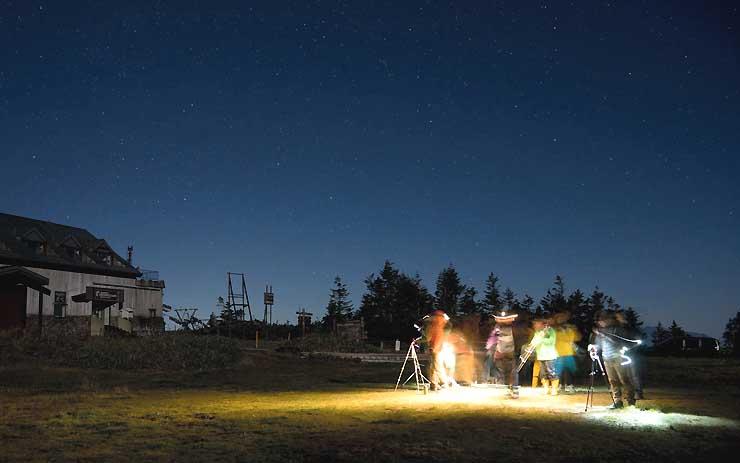 湯けむりナイトフォトツアーの会場の一つになる横手山山頂付近