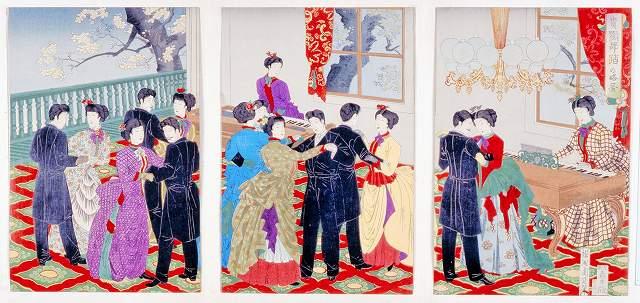 鹿鳴館で男女がダンスに興じる様子を描いた「貴顕舞踏の略図」(神戸市立博物館蔵)