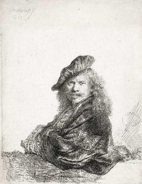 「石の手摺りにもたれる自画像」(1639年)=20.5×16.4センチ
