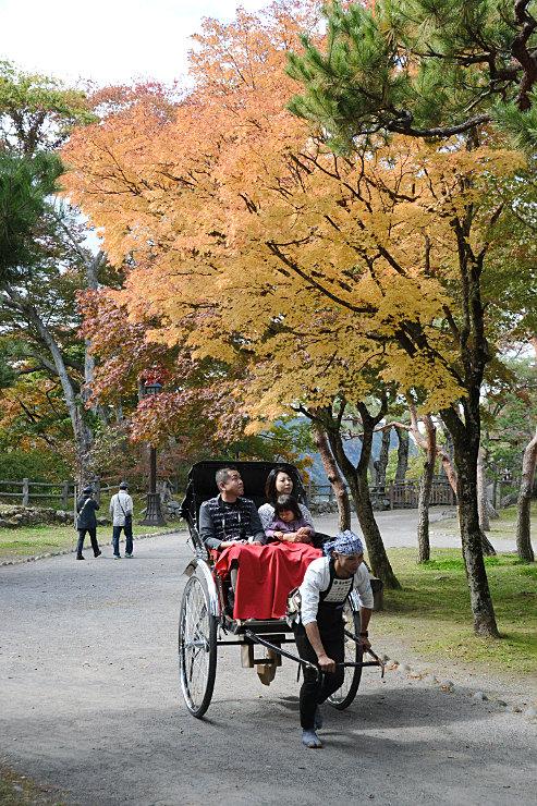 懐古園で人力車に乗り、色づいた木々を楽しむ家族連れ