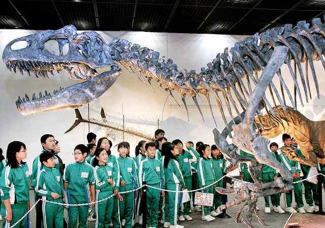 アロサウルスの複製全身骨格を見学する児童たち=13日、福井県勝山市の福井県立恐竜博物館