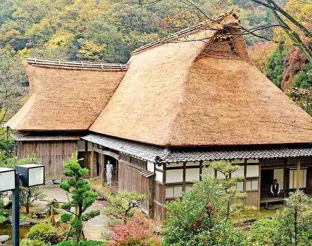 カヤの全面ふき替え工事が完了した市指定文化財の旧城地家=17日、福井県福井市のおさごえ民家園