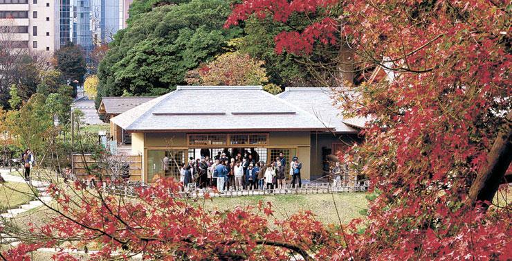紅葉に彩られた庭を眺める来園者=金沢城公園の玉泉院丸庭園