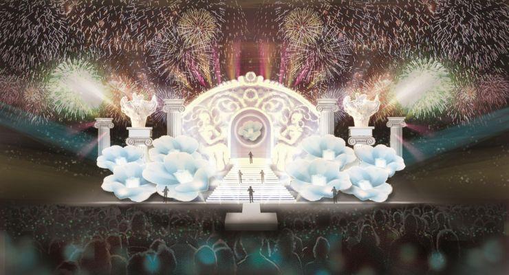 火焔型土器や雪椿をデザインした雪上カーニバルのステージのイメージ図(写真はいずれも十日町雪まつり実行委員会提供)