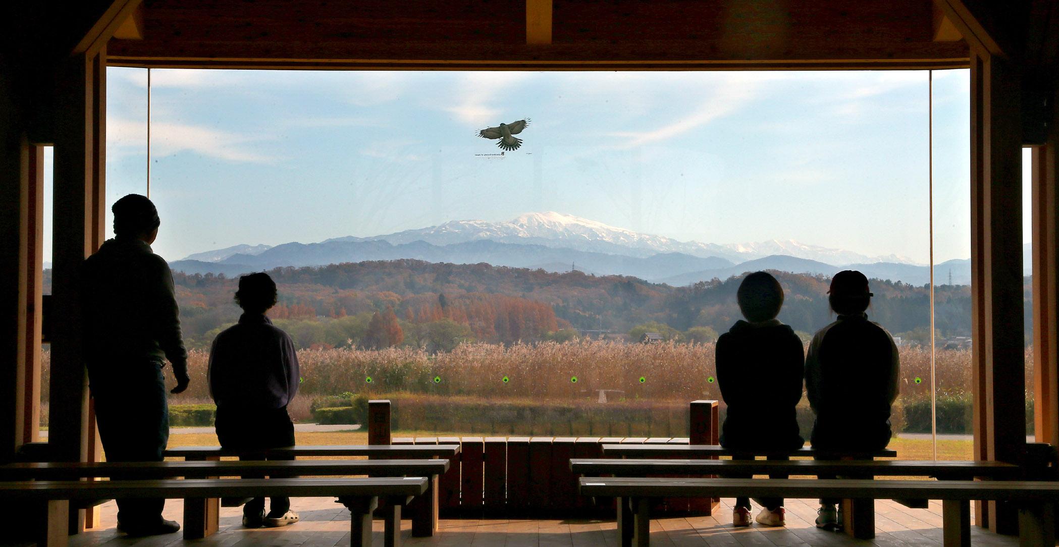雪を頂く白山を眺める来園者=小松市の木場潟公園西園地展望休憩所