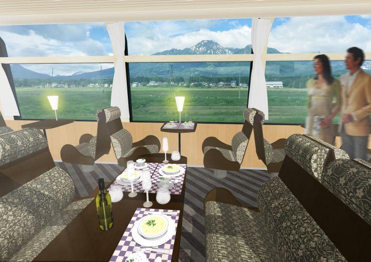 えちごトキめきリゾート雪月花の車内イメージ(えちごトキめき鉄道提供)