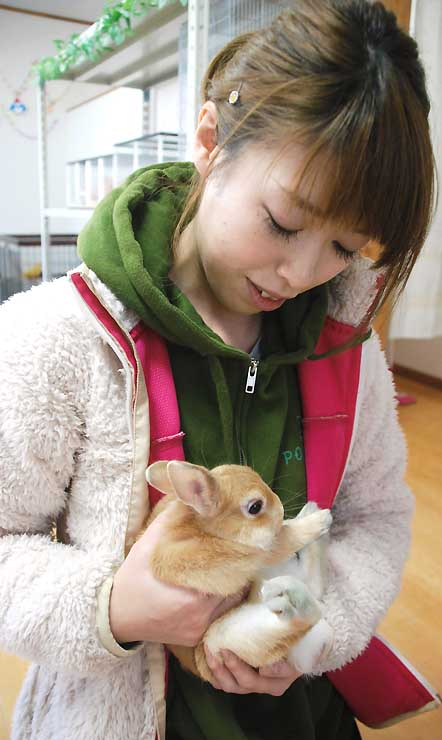 「とがりふれあい動物園」で飼育するウサギを抱える運営会社スタッフ