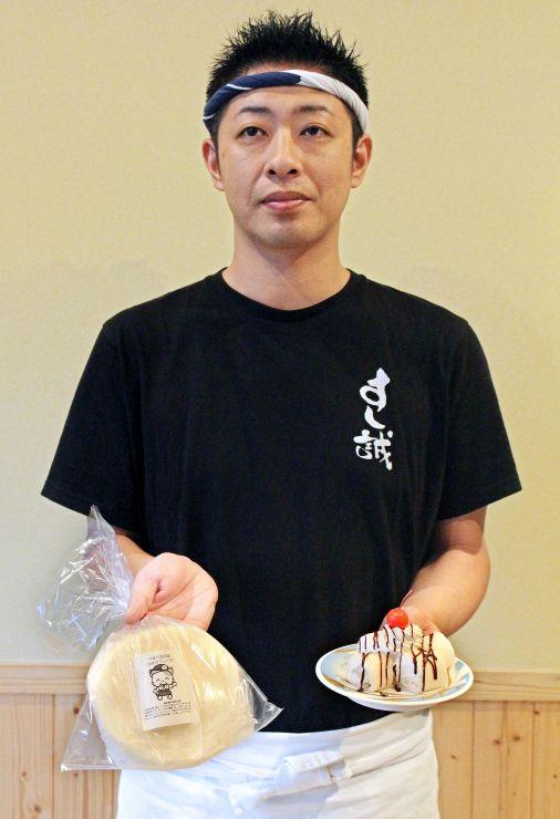 市販化した米粉料理「べえべえ」(左)とすし誠で提供している「スイーツべえべえ」=胎内市江上