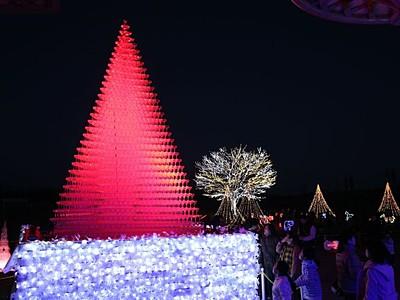 光注ぐ7000杯のツリー LED彩る 長岡丘陵公園