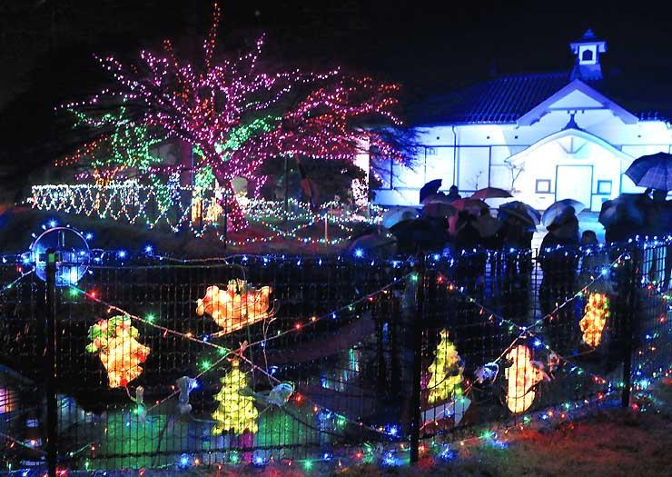 旧飯田測候所の周辺を彩るイルミネーション=23日午後6時ごろ、飯田市
