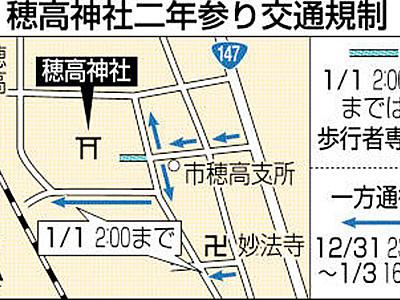 穂高神社-二年参りと初詣の交通規制