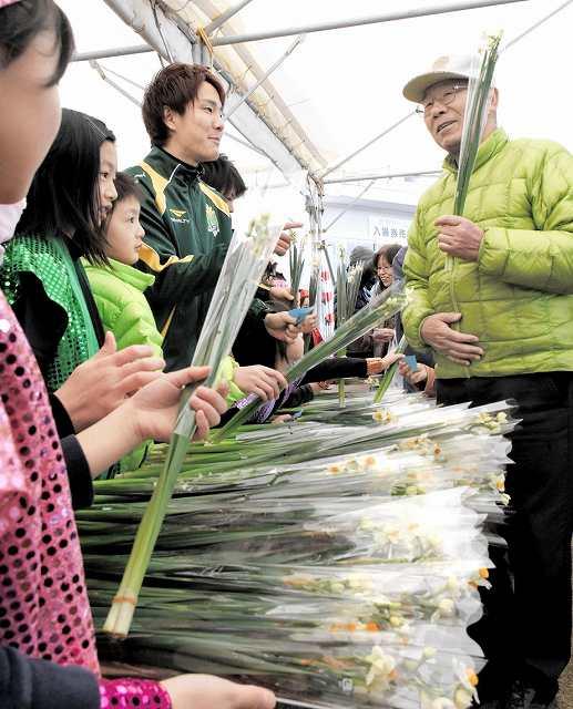 水仙のプレゼントなどが行われたまつり=16日、福井県福井市の越前水仙の里公園