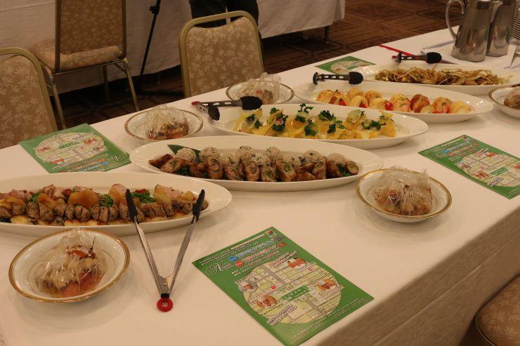 地元食材を生かしたメニュー=いずれも19日、新潟市中央区