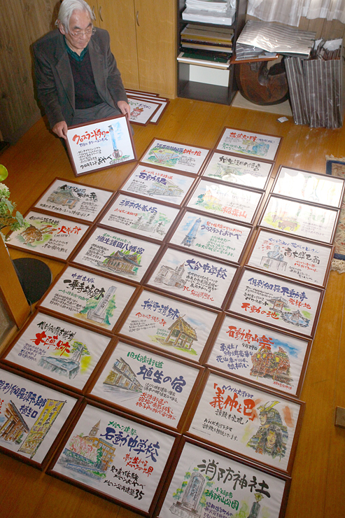 津幡の町おこしグループが作った小矢部の観光スポットポスター。交流事業で道の駅メルヘンおやべで展示される