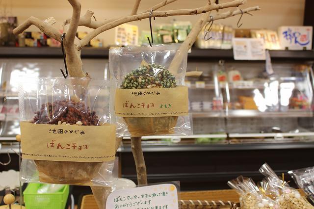 米と大豆のポン菓子をチョコで固めたばんこチョコ=4日、福井県池田町のまちの駅内「こってコテいけだ」