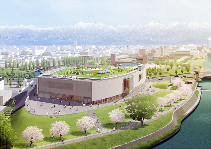 「富山県美術館」で名称案がまとまった新美術館の完成予想図。2017年にオープンする
