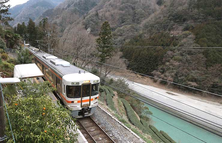 中井侍駅に停車する普通列車
