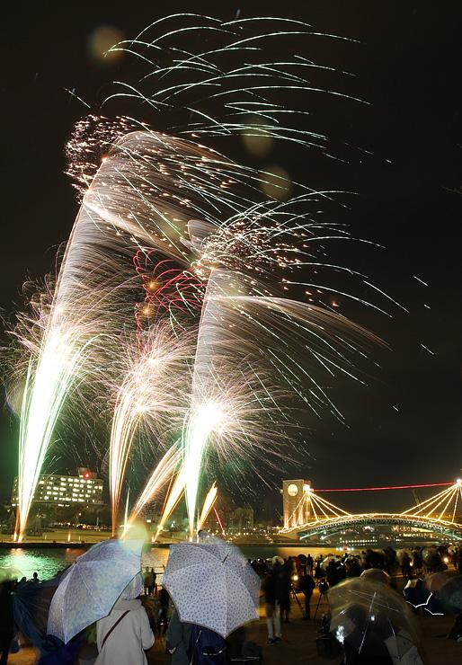 音楽に合わせ冬の夜空を彩った花火=富岩運河環水公園(多重露光)