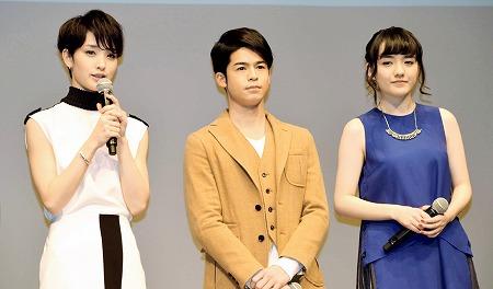 「福井の魅力が詰まったドラマになった」とPRする剛力彩芽さん(左)ら=東京・品川インターシティホール