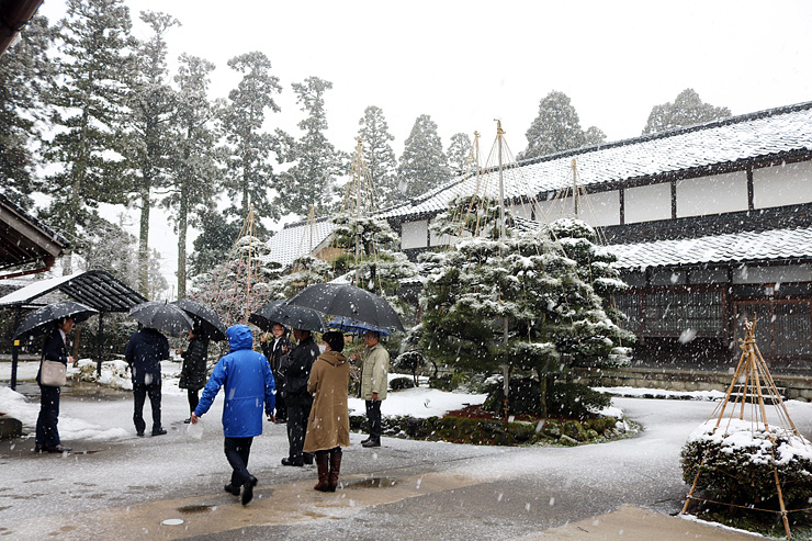 景観重要建造物に指定された岡本家。審議会メンバーが視察した=砺波市五郎丸