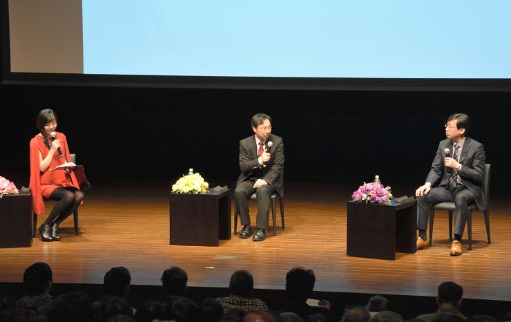 真田丸の見どころについて話す(右から)平山さん、千田さん、小日向さん