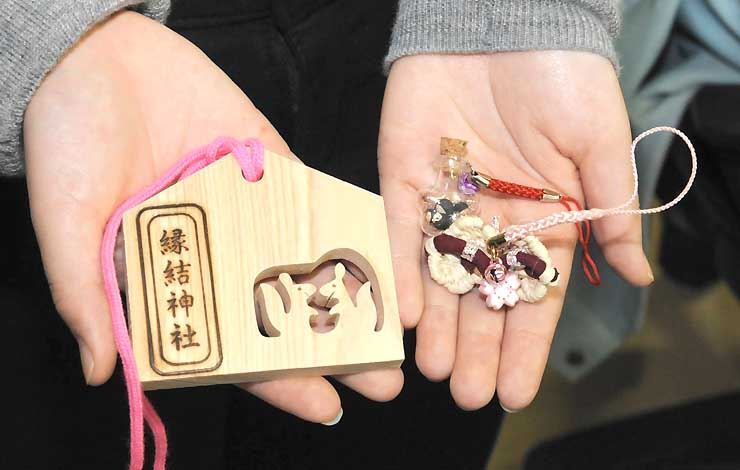木祖村内などで販売されている縁結神社の関連商品