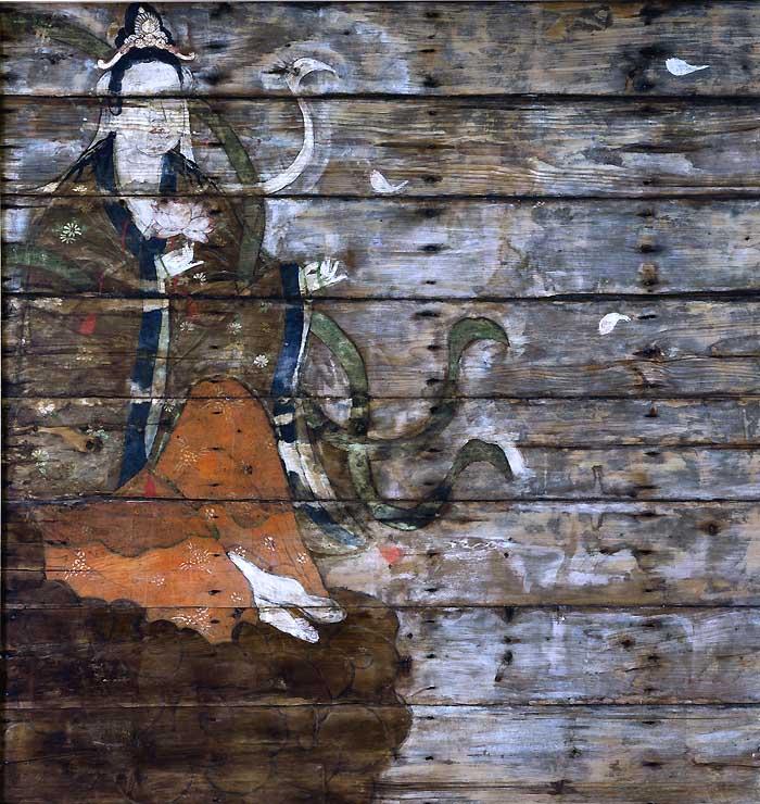 小松姫の御霊屋の天井絵の下から新たに見つかった絵。ハスの花を手にした立て膝の人物が描かれている