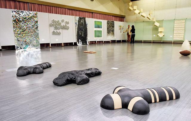 8カ国の作家による現代美術作品約100点が並ぶアートフェスティバル=30日、越前市民ホール