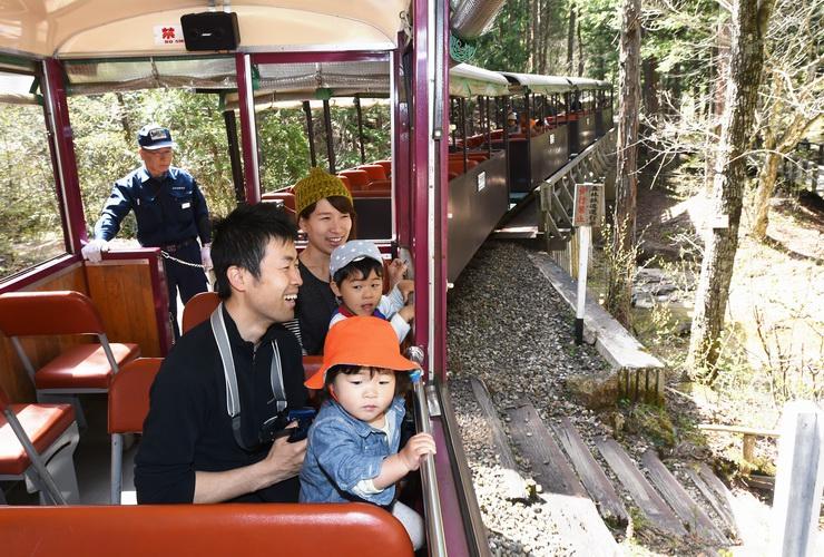 森林鉄道に乗り、緑豊かな景色を楽しむ家族連れ=2日、上松町の赤沢自然休養林