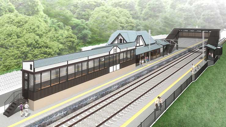 篠ノ井線姨捨駅に設ける「夜景バー」のイメージ(JR東日本提供)