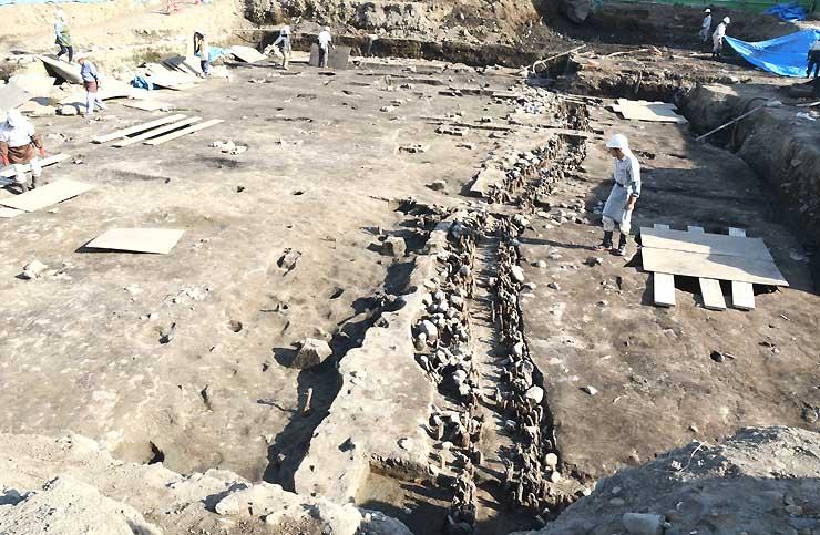 くいを打った列や溝などが見つかった発掘調査現場