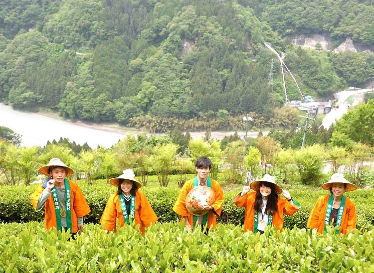 中井侍地区の茶畑に立つ天龍村の地域おこし協力隊員の5人