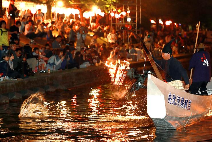 かがり火で川面を照らしながら披露された鵜飼い漁=富山市婦中町島本郷