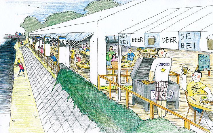 中川清兵衛にちなんで設置されるビール園のイメージスケッチ